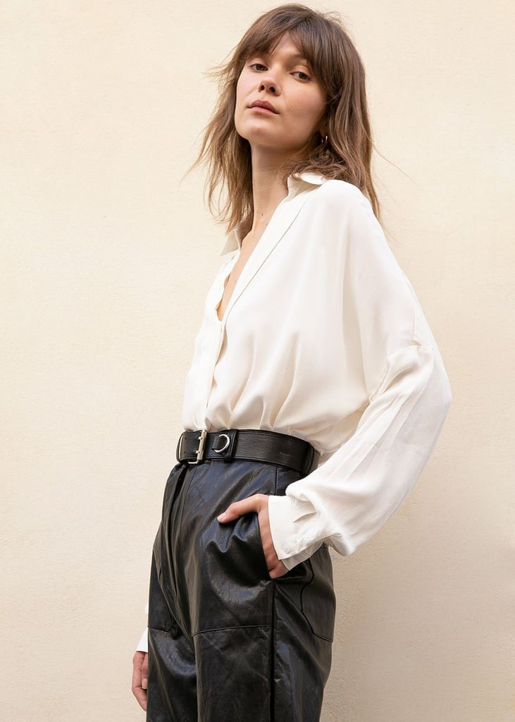 The Frankie Shop Long Sleeve Wrap Blouse in White