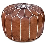 Moroccan Flair Leather Moroccan Pouf in Tan