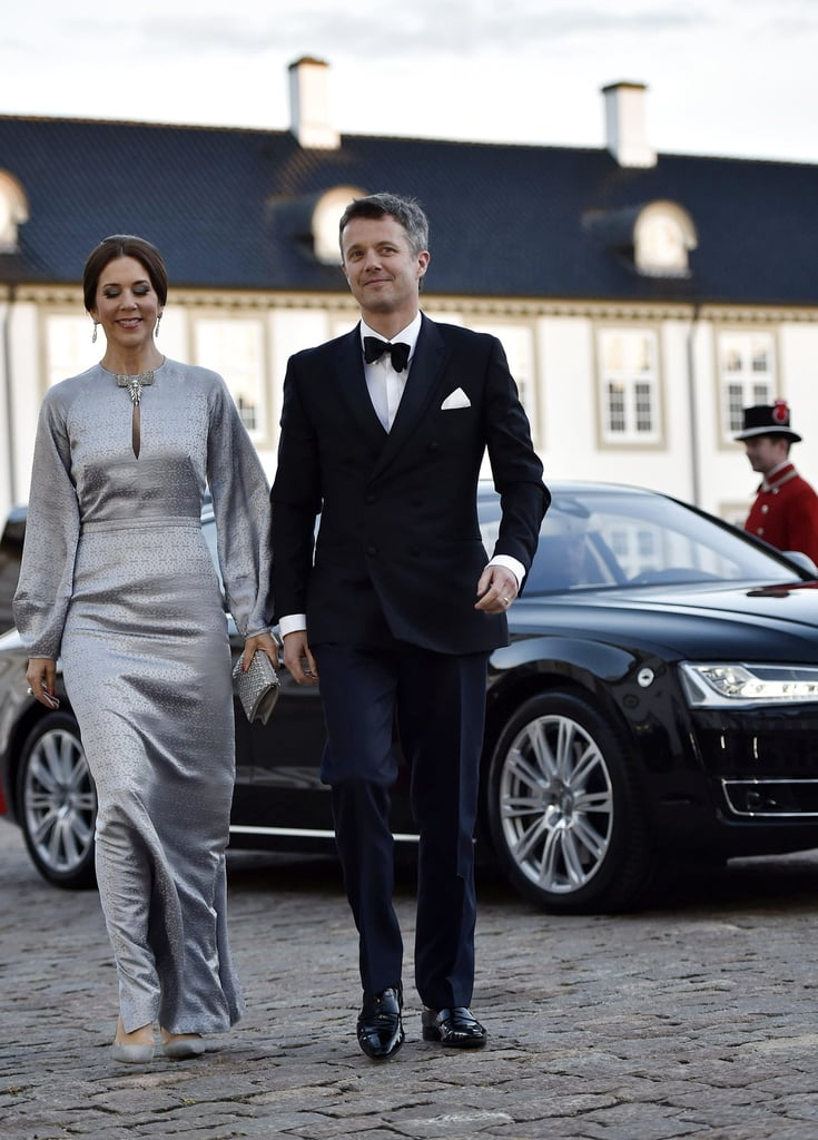 Crown Princess Mary of Denmark in a silver gown and Gianvito Rossi heels.