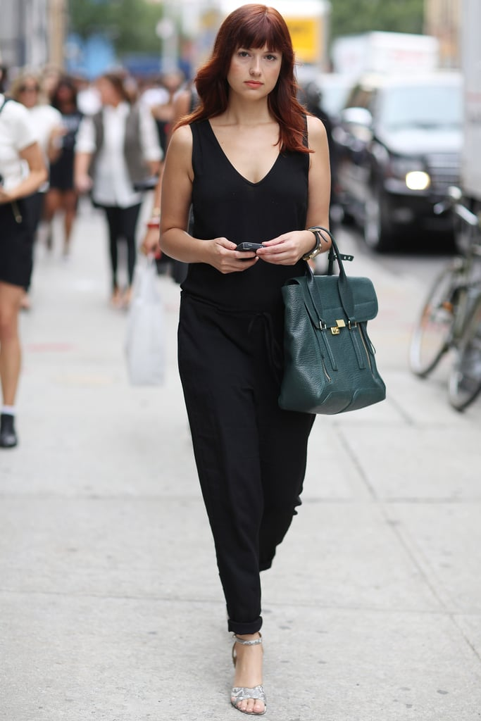 Fashionologie's Christina Pérez showed off a jumpsuit and her trusty Phillip Lim Pashli. Source: Greg Kessler