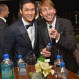 Harry Shum Jr. and Jack McBrayer showed off their smiles at the Weinstein Company party.