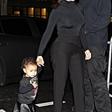 Kim Kardashian took her too-cute daughter North to her first-ever fashion show at Balenciaga's Paris Fashion Week showing on Wednesday night. Husband and dad Kanye West was trailing behind.