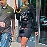 Rihanna monkeyed around NYC in a gorilla-print mini-dress and cut-out oxblood sandals in June 2009.