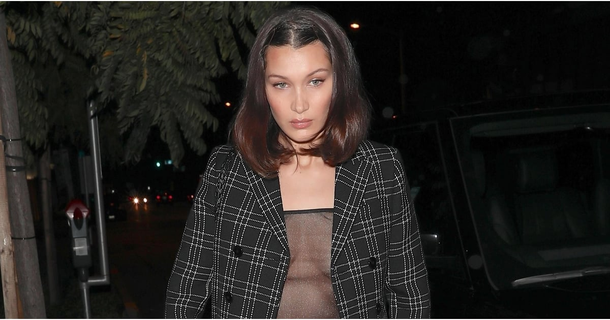 Bella Hadid's Sexy Glitter Top Is So Sheer, It Put Everything on Display