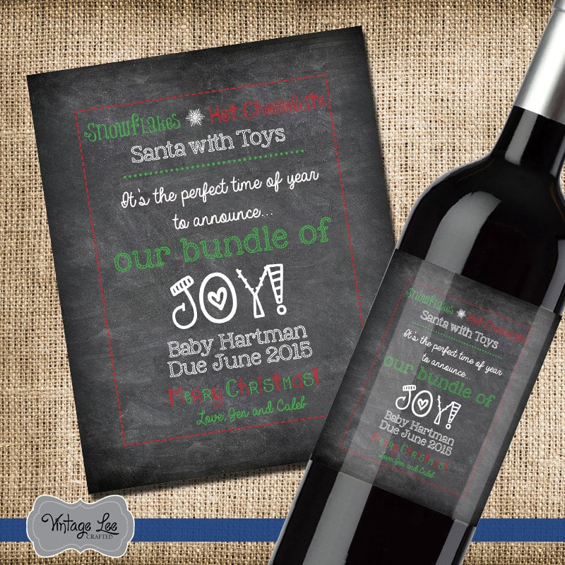 Personalized Baby Announcement Wine Bottle Label