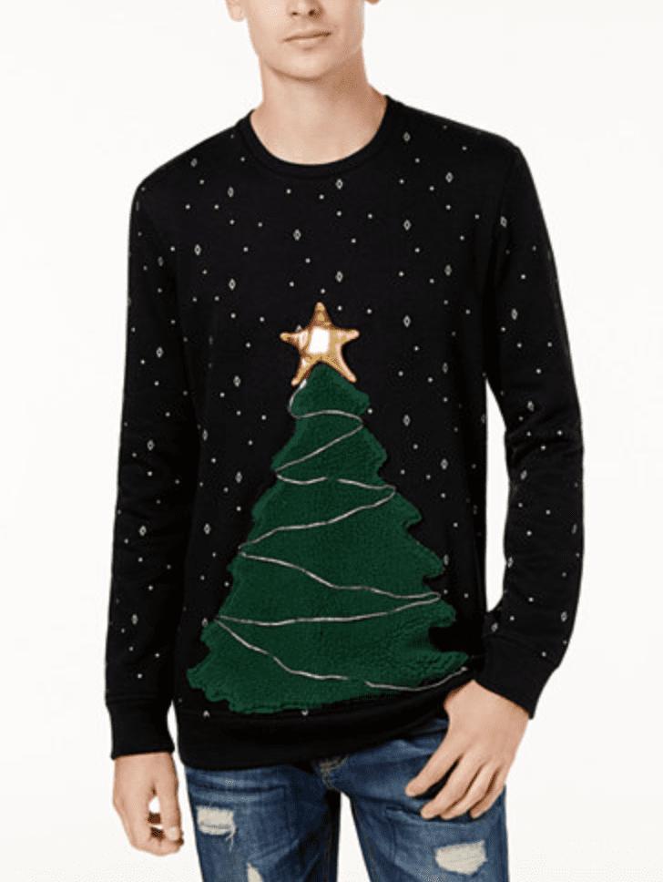 American Rag Mens Led Tree Fleece Sweater Light Up Christmas