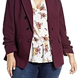 1.STATE Ruched Sleeve Stretch Crepe Blazer