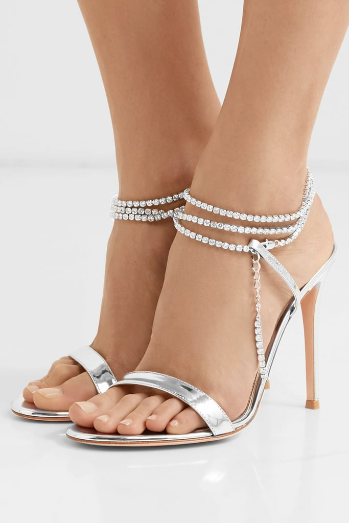Gianvito Rossi Tennis 105 Crystal Embellished Metallic Patent Leather Sandals