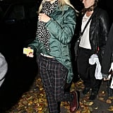 Gwen Stefani bundled up in a puffy jacket.