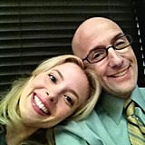 Gillian Jacobs and Jim Rash palled around on the set of Community. Source: Twitter user GillianJacobs