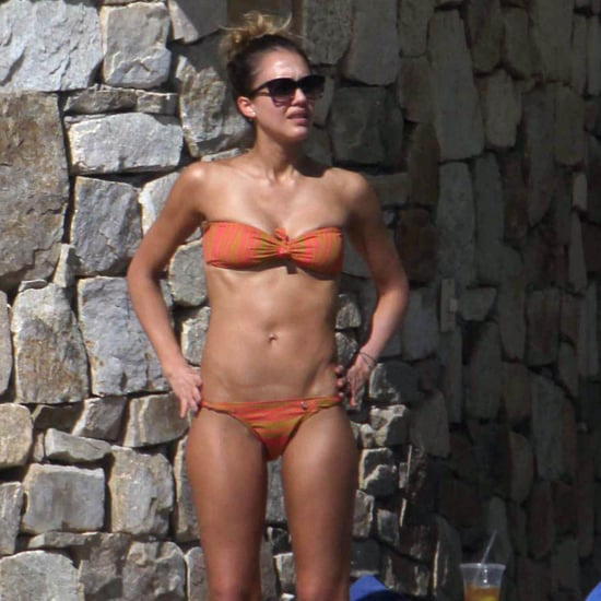 Jessica Alba in an Orange Bikini in Mexico