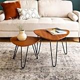 Walnut Hairpin Leg Wood Nesting Coffee Table Set