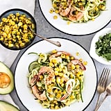Spicy Avocado Zucchini Noodles With Grilled Shrimp and Charred Corn Salsa