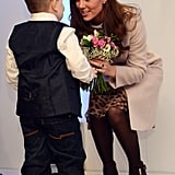 Kate was presented with a bouquet of flowers by 7-year-old Jamie Andrew during her visit to a hospital in November 2012.