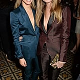 Friends Suki Waterhouse and Cara Delevingne wore similar suits to Harvey Weinstein's annual pre-BAFTAs bash.