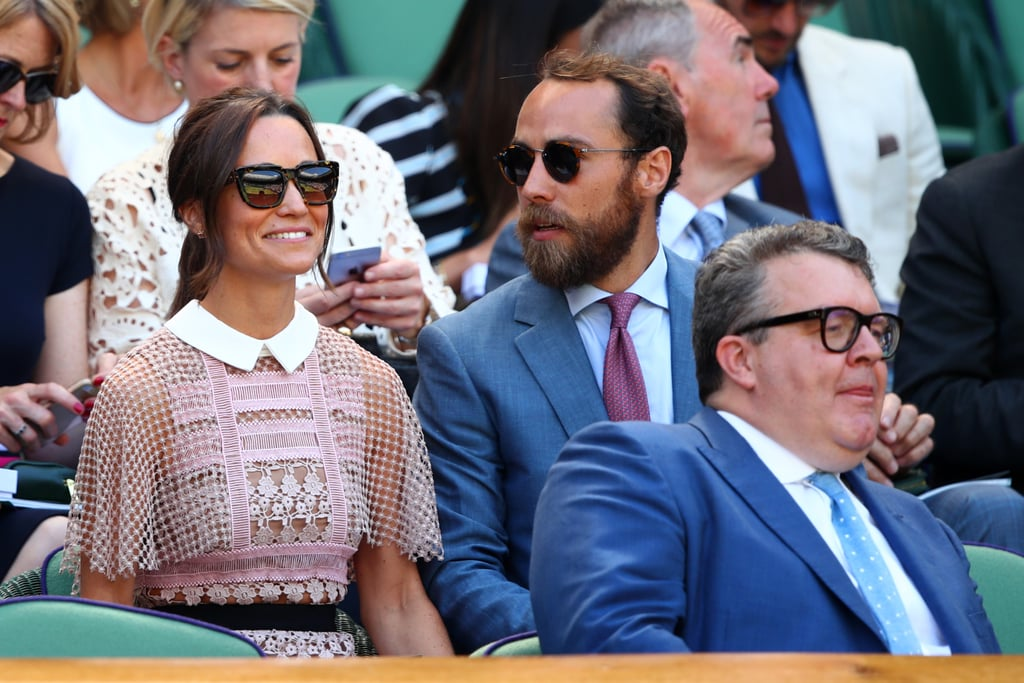 Pippa Middleton stepped out for a sunny day at Wimbledon with her younger brother, James, on Wednesday. The siblings were dressed to the nines for the event, with Pippa in a blush-colored Self Portrait dress and James sporting a crisp blue suit; they were photographed sitting side by side and sharing a laugh while taking in the game. Just two days earlier, James and Pippa's sister Kate Middleton also attended Wimbledon. The duchess showed off a shorter new hairdo and was all smiles in a sweet polka-dot-print Dolce & Gabbana dress.        Related:                                                                                                           See Kate and Pippa Middleton's Sweetest Wedding Moments, Side by Side               Pippa is getting back to her regular routine after returning from her lavish honeymoon with new husband James Matthews last month. The couple was married in an intimate ceremony in the UK on May 20 that brought out close friends and family, including the royals: Kate kept control of the young page boys and flower girls, including her own two kids, Prince George and Princess Charlotte, while Prince William and Prince Harry were also in attendance. Pippa and James made their first official appearance as a married couple at the The Miles Frost Fund Party in London last week.      Related:                                                                                                           Pippa Middleton Will Receive This Royal Title Once She Marries James Matthews