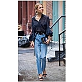 A Ruffle-Sleeved Blouse, Straight-Leg High-Waisted Jeans, and Statement Accessories