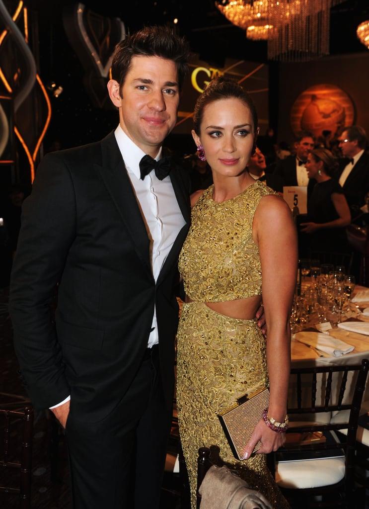 Emily Blunt and John Krasinski coupled up during a break at the Golden Globes.