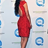Camila Alves in a red dress with a cutout back.