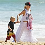 Gwen Stefani Shows Hints of a Red Bikini at the Beach