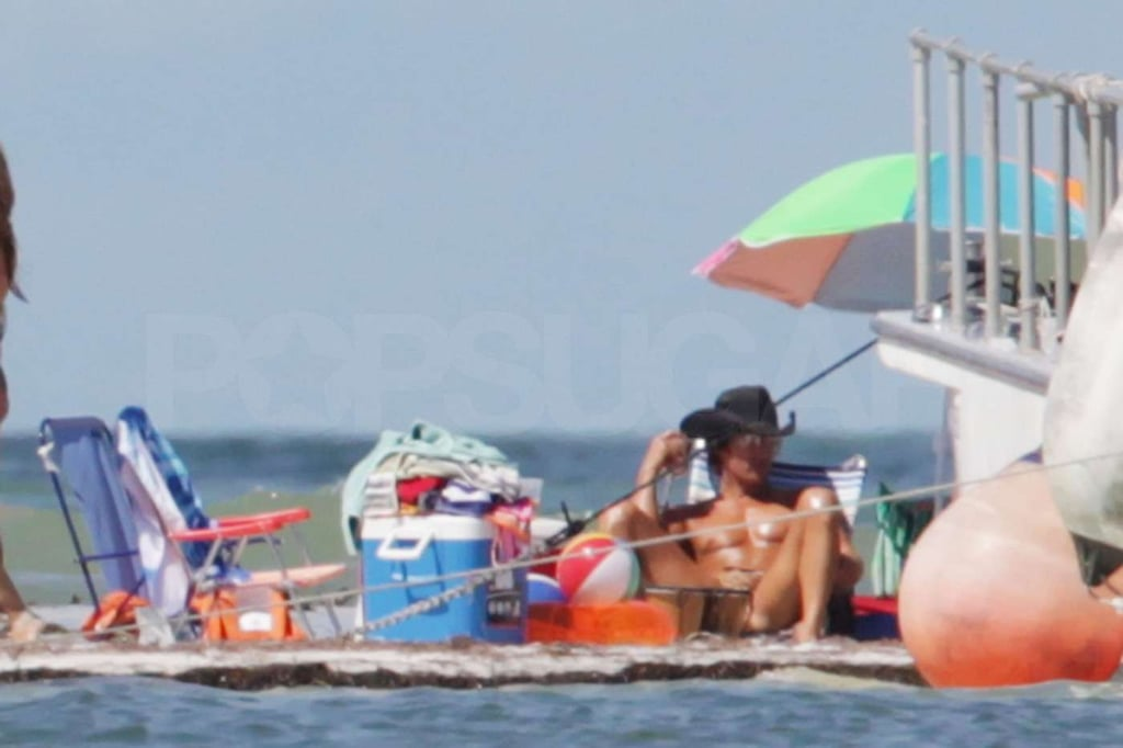 The actor was spotted lounging shirtless in a cowboy hat on the Tampa, FL, set of Magic Mike in October 2011.