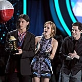 Emma Watson was joined on stage by Ezra Miller and Logan Lerman.