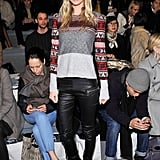 Poppy Delevigne paired slick leather with a fair-isle sweater at Richard Chai.