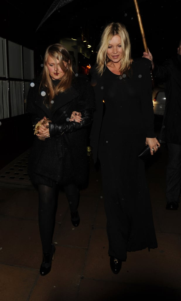Kate Moss wore black in London.