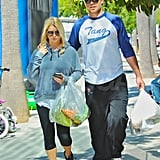 Jessica Simpson and Eric Johnson took home bags of vegetables.