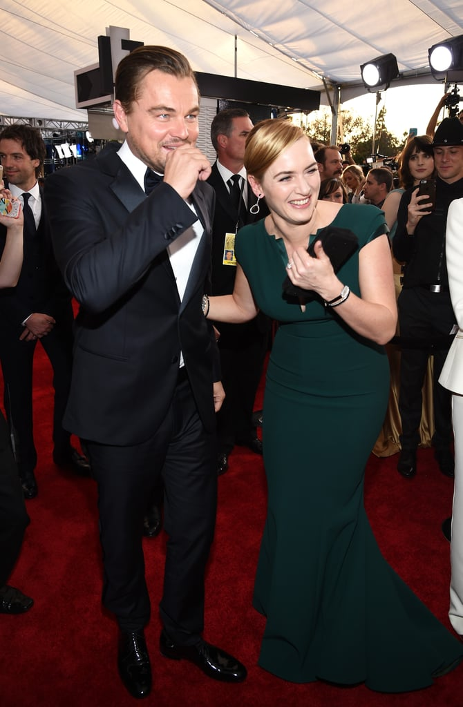 "Kate and Leo couldn't contain their laughter at the Screen Actors Guild Awards in 2016. During an interview with E! News on the red carpet, Kate even gave her longtime friend a sweet shout-out by adding, ""I've been so focused on Leo and him winning everything and being so excited for him."""