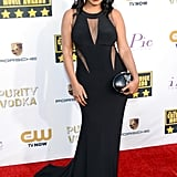 Nia Long looked stunning in a black gown with sheer panels.