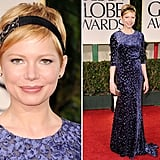 We've been anticipating Michelle Williams's arrival on the red carpet and now, the wait is over. The actress made her appearance wearing a purple burnout gown by Jason Wu.