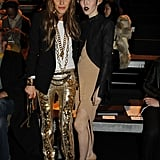 Anna Dello Russo added major sparkle to Mugler's front row alongside fresh front row face Michelle Harper.
