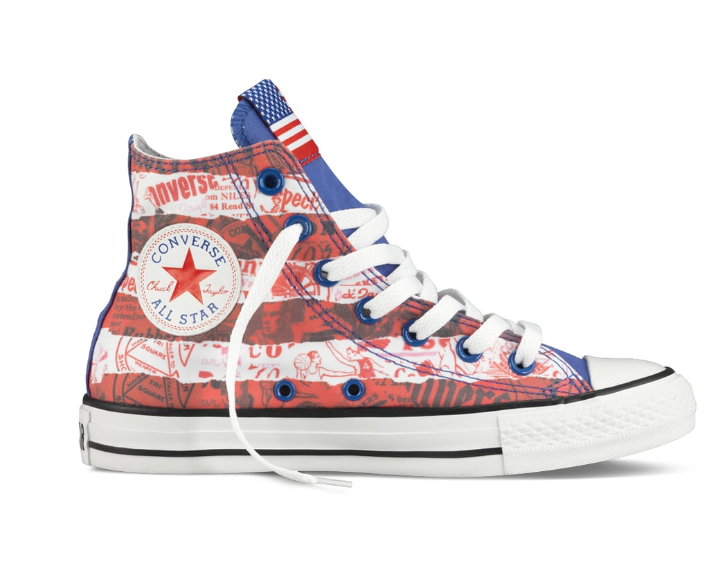 Update your Chucks with a spirited twist. This collection is dedicated to national pride, with designs for the US, Britain, Brazil, Germany, Italy, Jamaica, and China.  Chuck Taylor Country High-Top ($80)