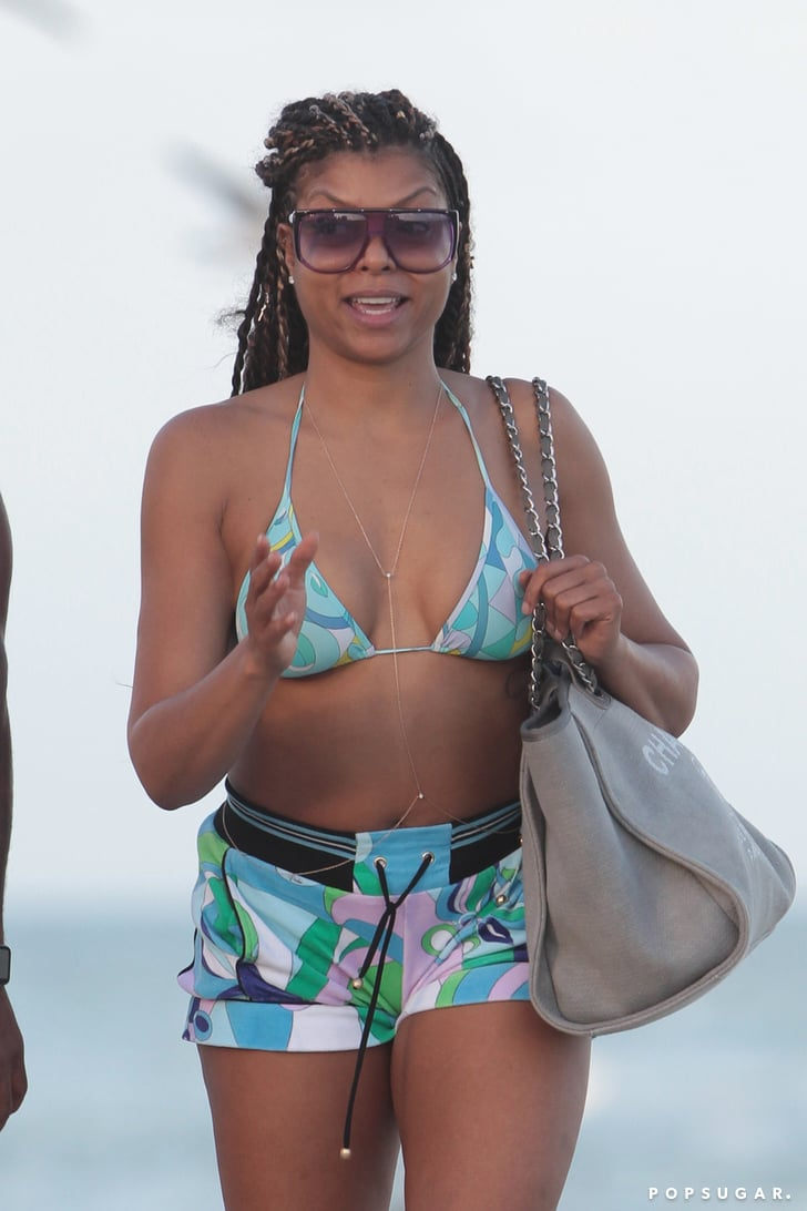 taraji p henson holding hands with a man in miami