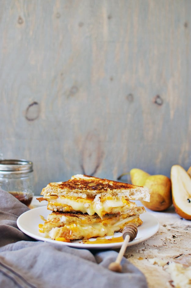 Brie and Cheddar Grilled Cheese With Pear