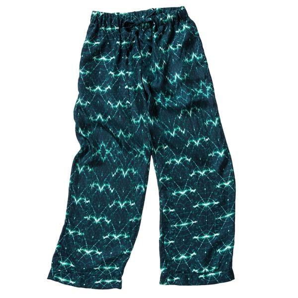 Stevie Howell Wavelengths Teal Silk Pajama Set