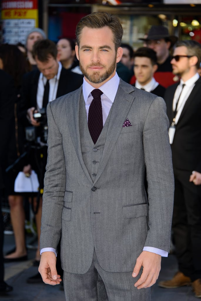 Chris Pine wore a Ralph Lauren suit to the UK premiere of Star Trek Into Darkness.