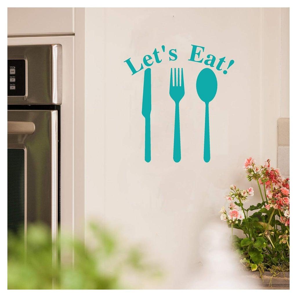 """Let's Eat"" Knife Fork Spoon Vinyl Lettering Wall Decal Sticker"