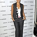 Bar Refaeli makes the perfect menswear matchup with her FNO tee and suit separates at Armani/5th Ave in NYC.