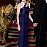 A One-Shouldered Midnight Blue Column Gown