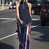 Wear Red, White, and Blue Striped Pants