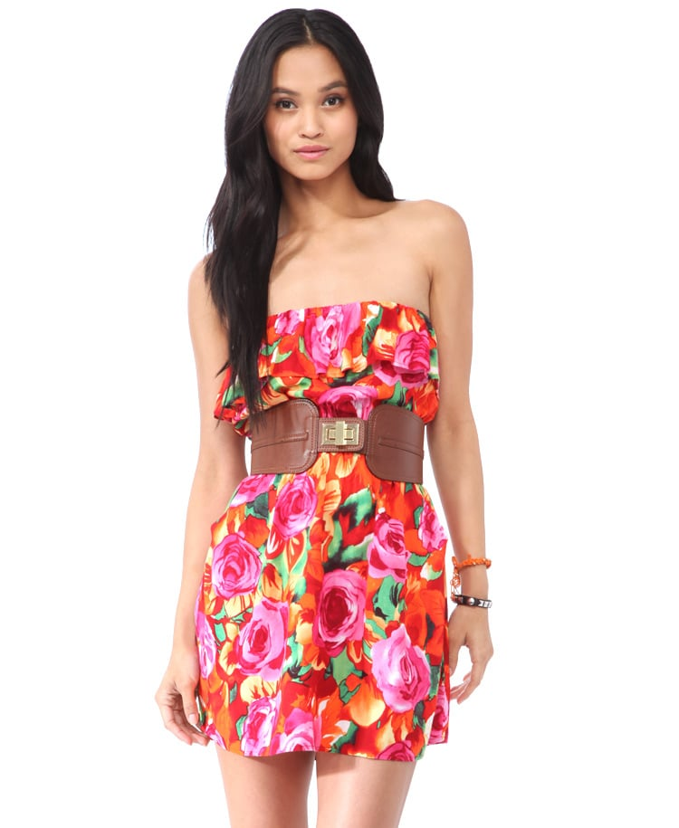 For the price of this fun, flirty floral dress, you can spring for a new pair of wedges, too. Forever 21 Flounced Floral Tube Dress ($16)