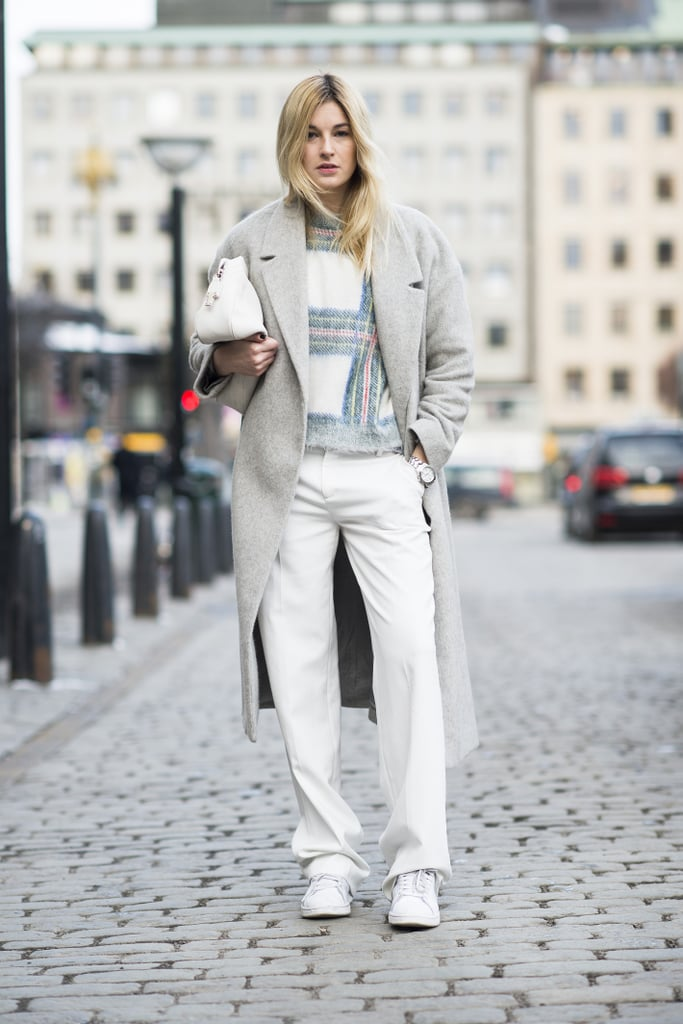 Wear White Jeans All Through Winter, With a Pair of Sneakers No Less