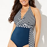 Swimsuits For All Horizon Faux Wrap Halter One Piece Swimsuit