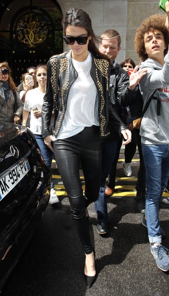 Kendall Jenner left the George V Hotel on Thursday.
