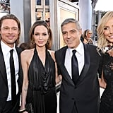 Angelina, Brad, George, and Stacy stopped for a photo op.