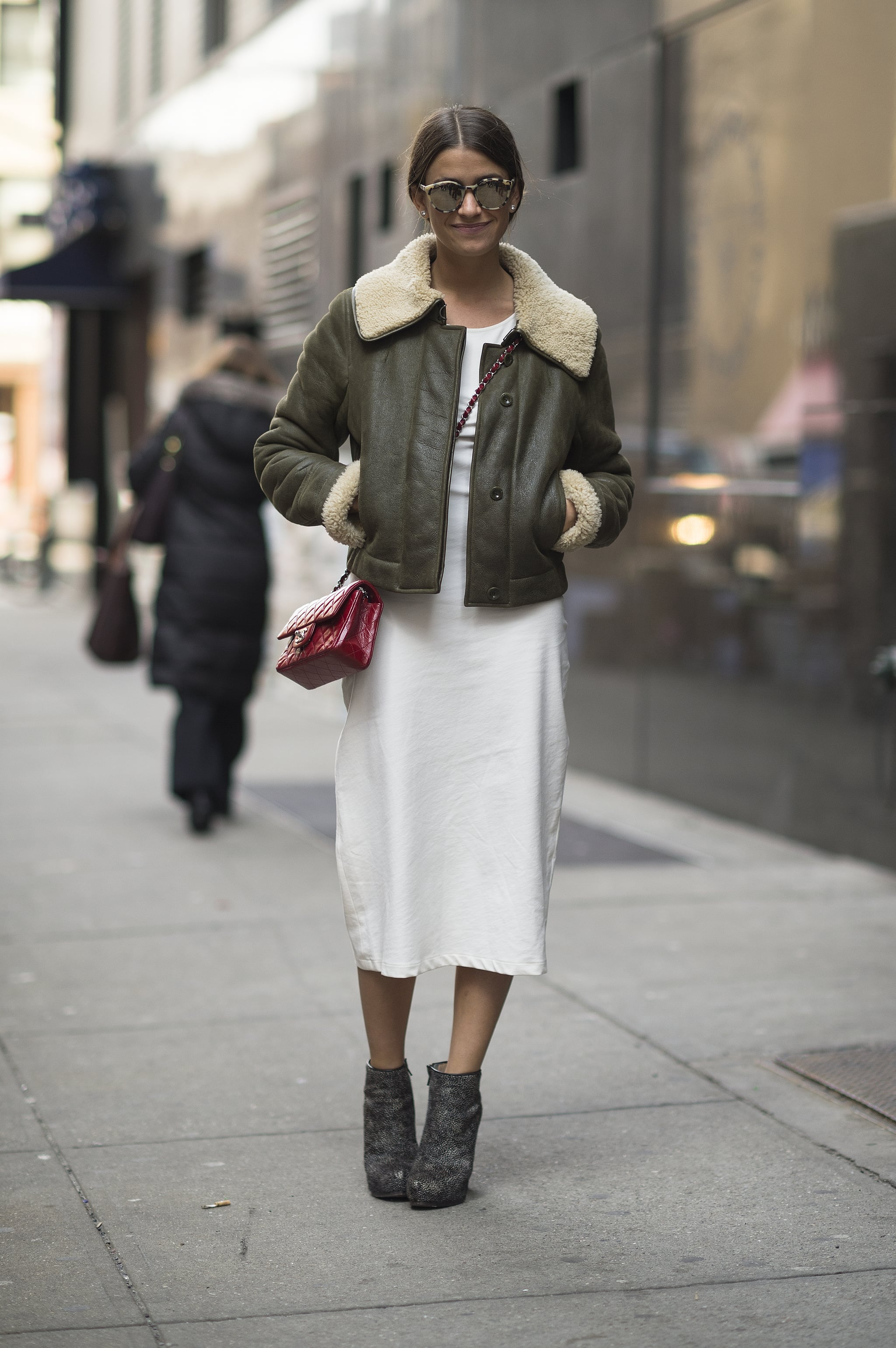 We love the juxtaposition between cozy shearling and a crisp white dress. Source: Le 21ème   Adam Katz Sinding