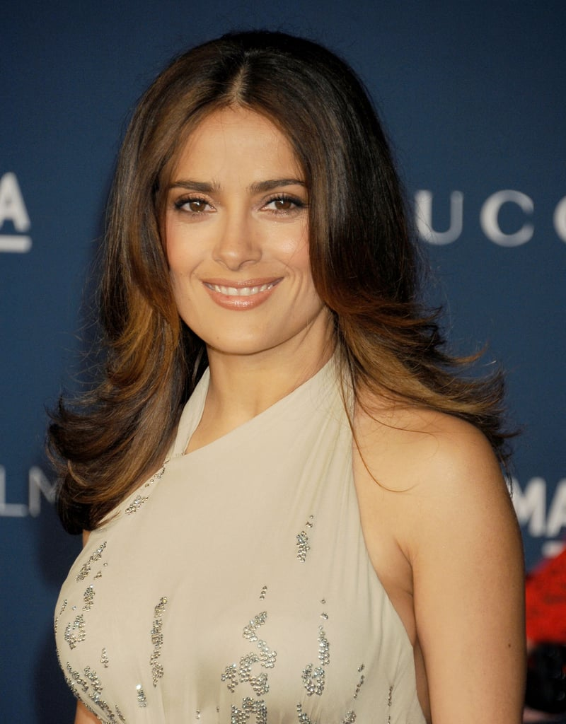 Salma Hayeks Caramel Highlights Played Perfectly Off Her Golden
