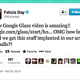 Maybe before we get Google Glass on our eyeballs, Felicia Day of Geek & Sundry, we can get them styled by Warby Parker.